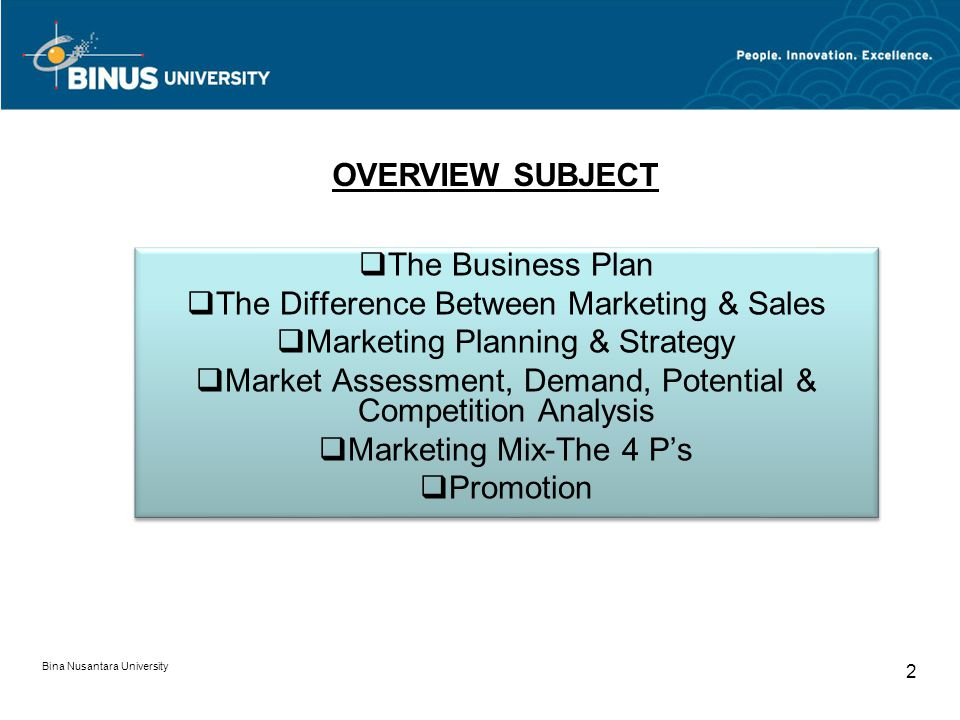 Bina Nusantara University 2 The Business Plan The Difference Between Marketing & Sales Marketing Planning & Strategy Market Assessment, Demand, Potential & Competition Analysis Marketing Mix-The 4 Ps Promotion The Business Plan The Difference Between Marketing & Sales Marketing Planning & Strategy Market Assessment, Demand, Potential & Competition Analysis Marketing Mix-The 4 Ps Promotion OVERVIEW SUBJECT