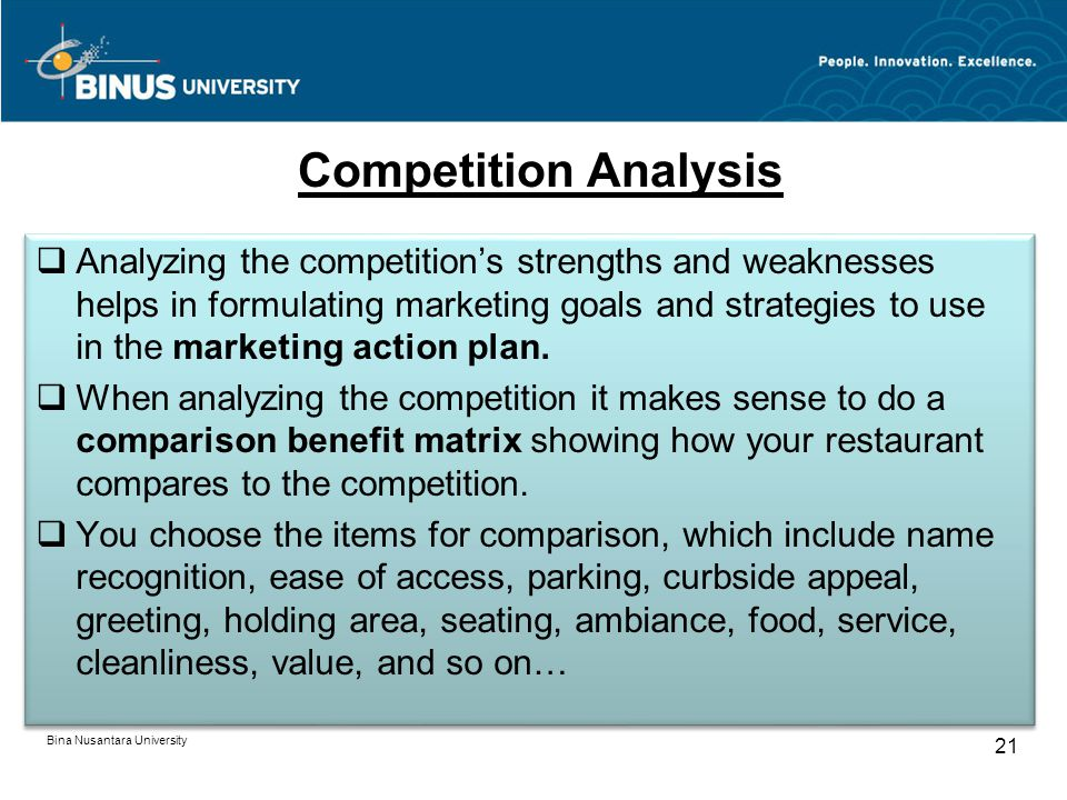 Bina Nusantara University 21 Competition Analysis Analyzing the competitions strengths and weaknesses helps in formulating marketing goals and strategies to use in the marketing action plan.