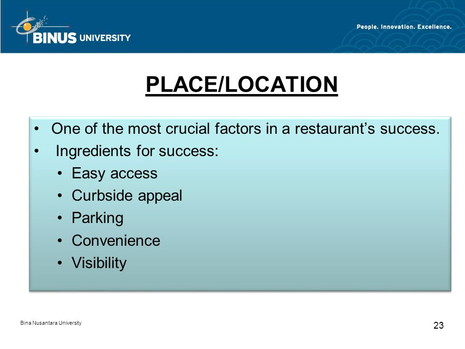 Bina Nusantara University 23 PLACE/LOCATION One of the most crucial factors in a restaurants success.