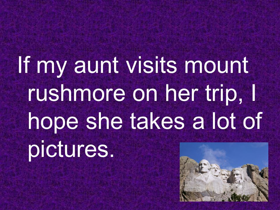 If my aunt visits mount rushmore on her trip, I hope she takes a lot of pictures.