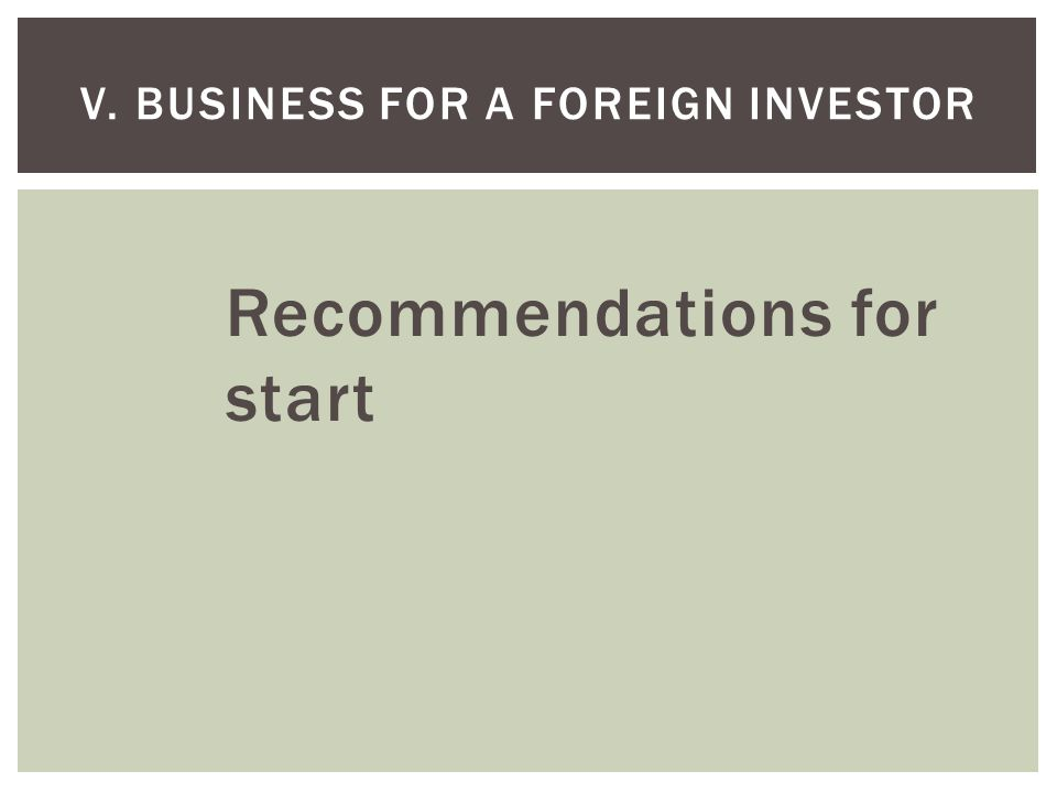 Recommendations for start V. BUSINESS FOR A FOREIGN INVESTOR