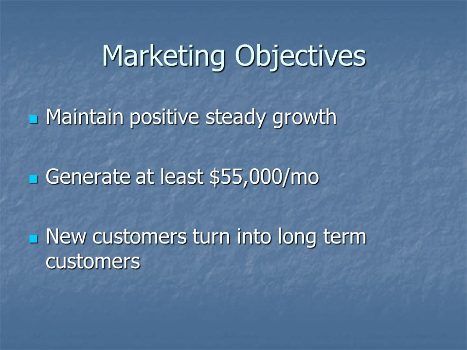 Marketing Objectives Maintain positive steady growth Maintain positive steady growth Generate at least $55,000/mo Generate at least $55,000/mo New customers turn into long term customers New customers turn into long term customers