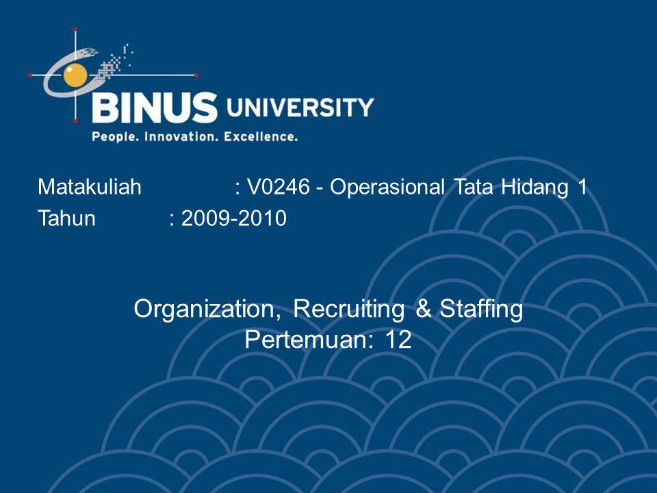 Organization, Recruiting & Staffing Pertemuan: 12 Matakuliah: V0246 - Operasional Tata Hidang 1 Tahun: 2009-2010