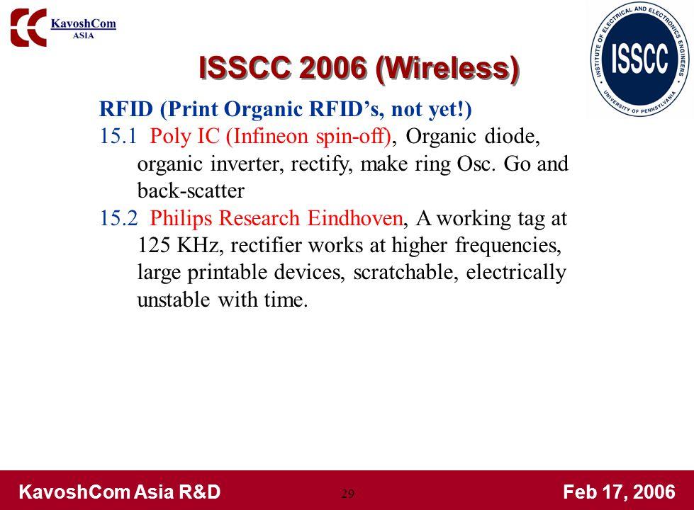 KavoshCom Asia R&DFeb 17, 2006 29 RFID (Print Organic RFIDs, not yet!) 15.1 Poly IC (Infineon spin-off), Organic diode, organic inverter, rectify, make ring Osc.