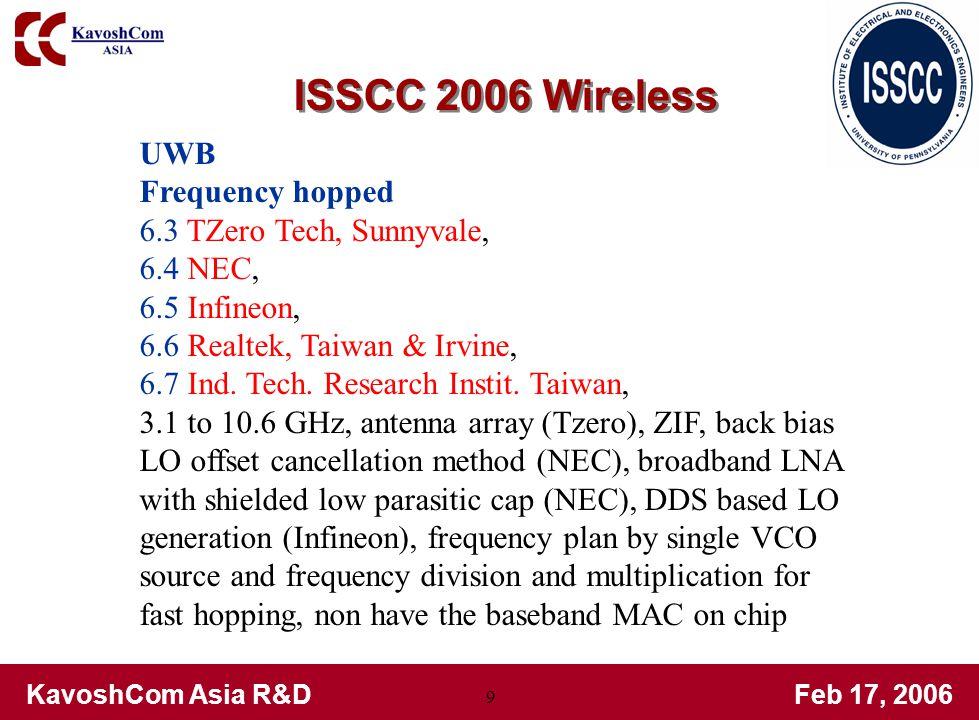 KavoshCom Asia R&DFeb 17, 2006 9 UWB Frequency hopped 6.3 TZero Tech, Sunnyvale, 6.4 NEC, 6.5 Infineon, 6.6 Realtek, Taiwan & Irvine, 6.7 Ind.