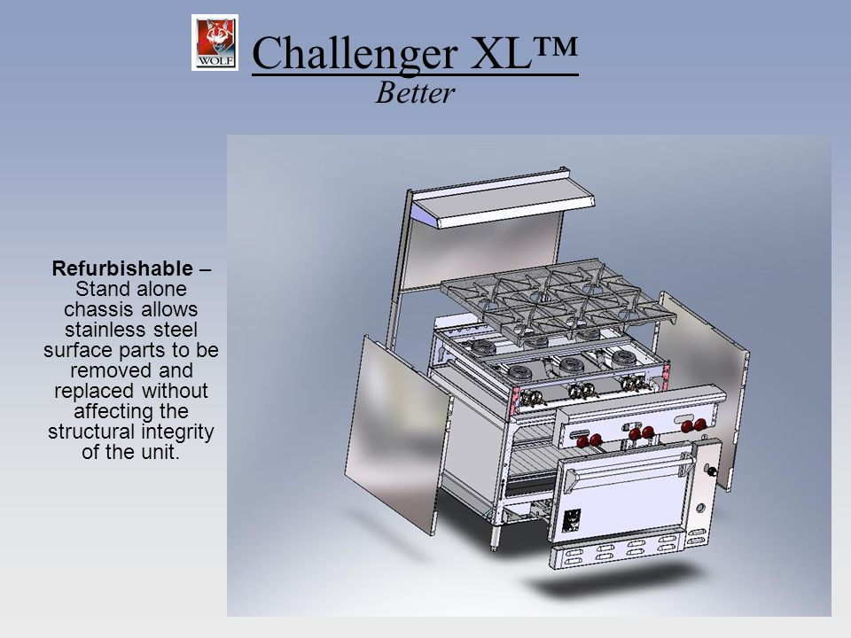 Challenger XL Better Refurbishable – Stand alone chassis allows stainless steel surface parts to be removed and replaced without affecting the structu