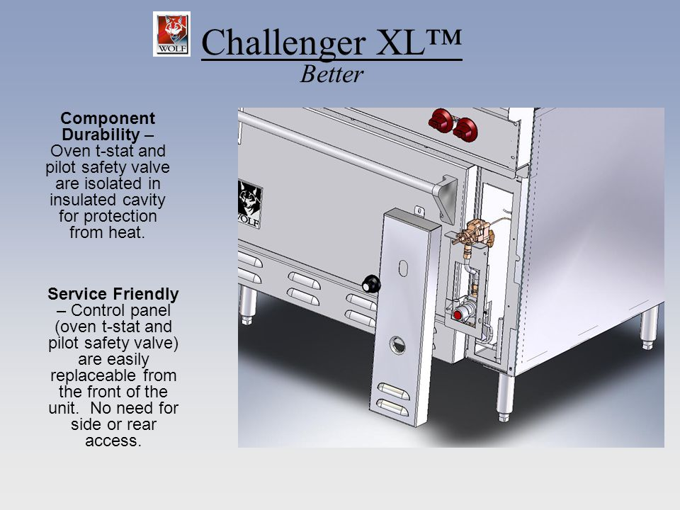 Challenger XL Better Service Friendly – Control panel (oven t-stat and pilot safety valve) are easily replaceable from the front of the unit. No need