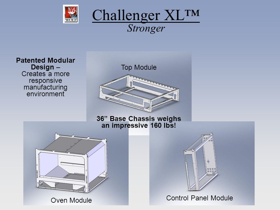 Challenger XL Stronger Patented Modular Design – Creates a more responsive manufacturing environment 36 Base Chassis weighs an impressive 160 lbs! Ove