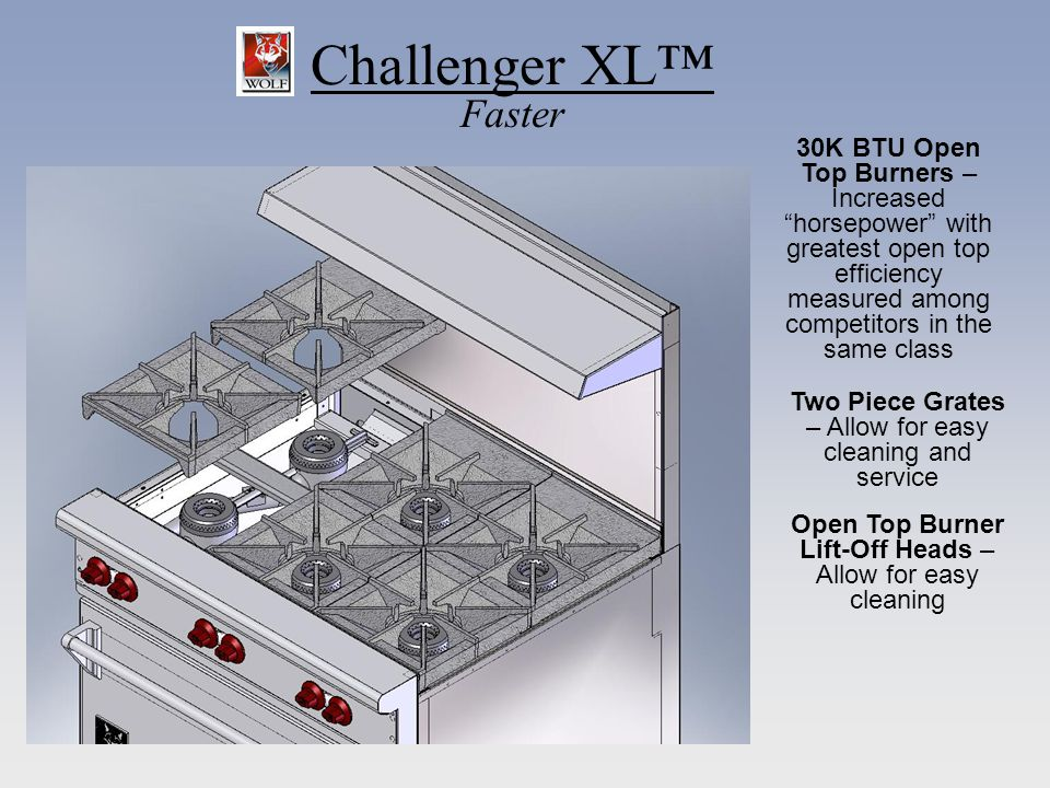 Challenger XL Faster 30K BTU Open Top Burners – Increased horsepower with greatest open top efficiency measured among competitors in the same class Two Piece Grates – Allow for easy cleaning and service Open Top Burner Lift-Off Heads – Allow for easy cleaning