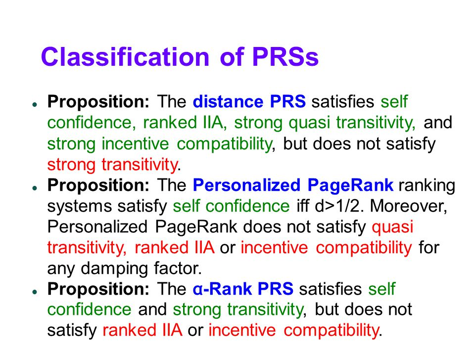 Classification of PRSs Proposition: The distance PRS satisfies self confidence, ranked IIA, strong quasi transitivity, and strong incentive compatibility, but does not satisfy strong transitivity.