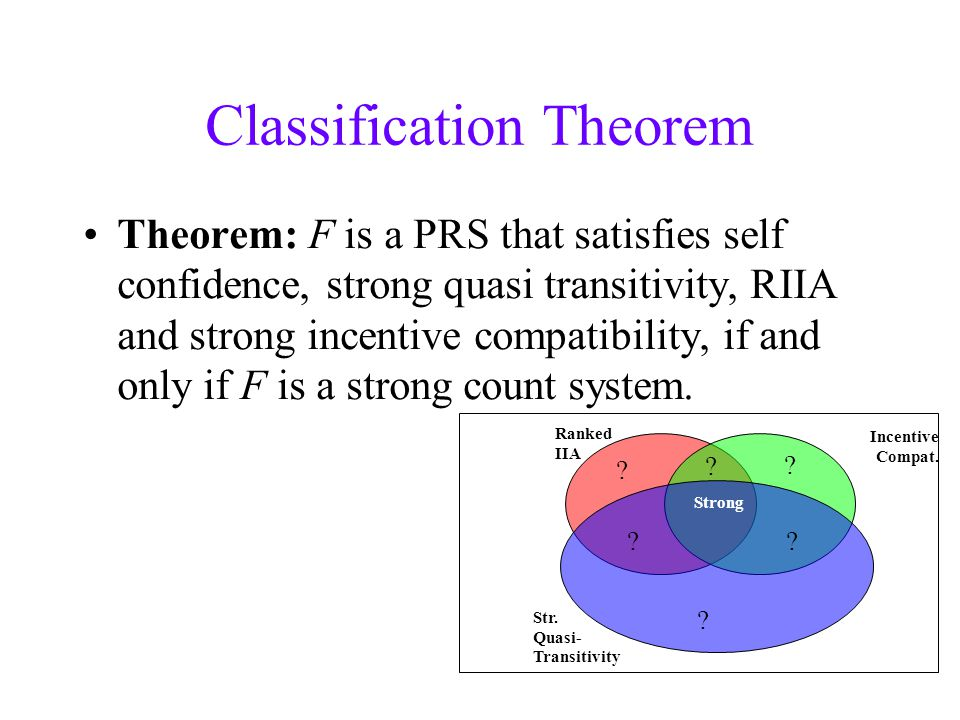 Classification Theorem Theorem: F is a PRS that satisfies self confidence, strong quasi transitivity, RIIA and strong incentive compatibility, if and only if F is a strong count system.