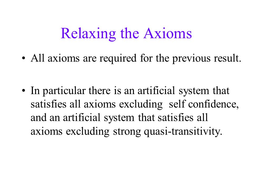 Relaxing the Axioms All axioms are required for the previous result.