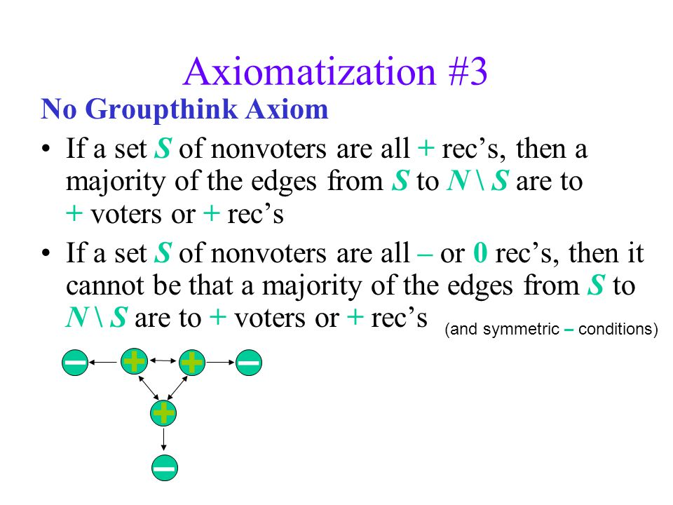 Axiomatization #3 No Groupthink Axiom If a set S of nonvoters are all + recs, then a majority of the edges from S to N \ S are to + voters or + recs If a set S of nonvoters are all – or 0 recs, then it cannot be that a majority of the edges from S to N \ S are to + voters or + recs (and symmetric – conditions) – – –