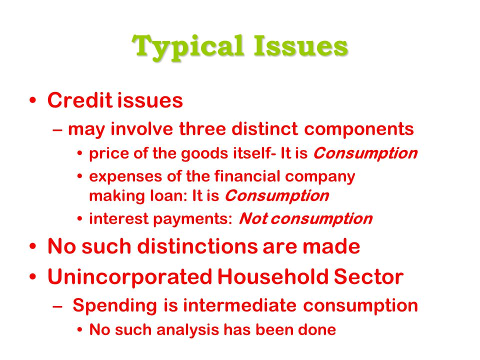 Typical Issues Credit issues –may involve three distinct components price of the goods itself- It is Consumption expenses of the financial company making loan: It is Consumption interest payments: Not consumption No such distinctions are made Unincorporated Household Sector – Spending is intermediate consumption No such analysis has been done