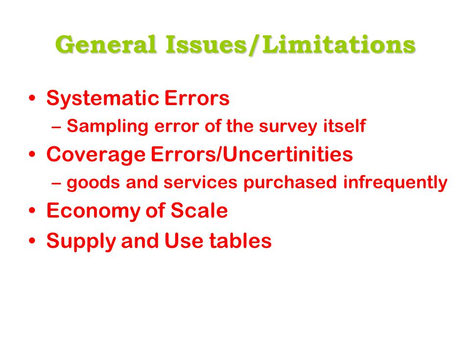 General Issues/Limitations Systematic Errors –Sampling error of the survey itself Coverage Errors/Uncertinities –goods and services purchased infreque