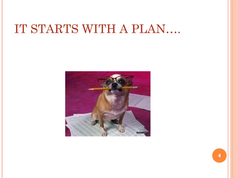 IT STARTS WITH A PLAN…. 4