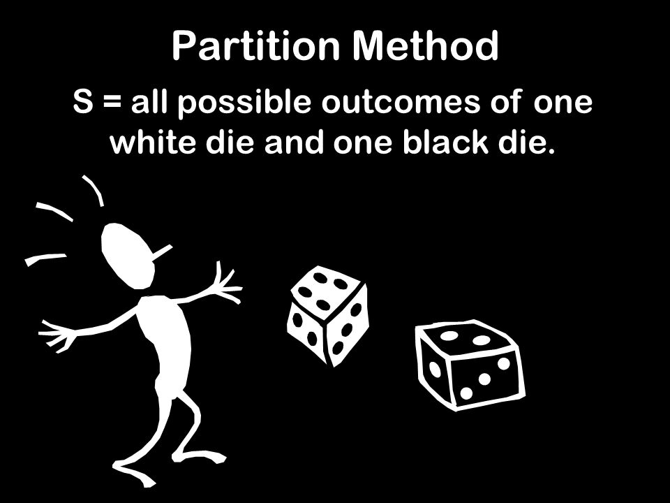 S = all possible outcomes of one white die and one black die. Partition Method
