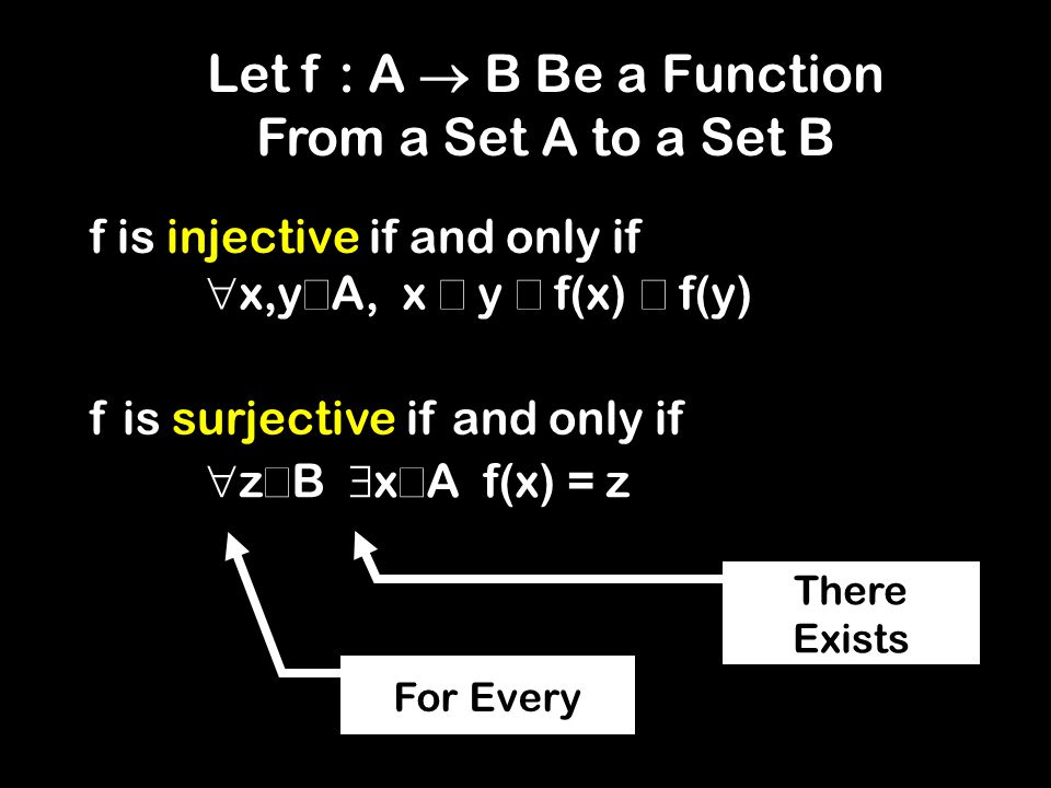 f is injective if and only if For Every There Exists f is surjective if and only if Let f : A B Be a Function From a Set A to a Set B x,y A, x y f(x) f(y) z B x A f(x) = z