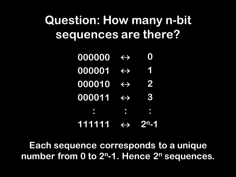 Each sequence corresponds to a unique number from 0 to 2 n -1.