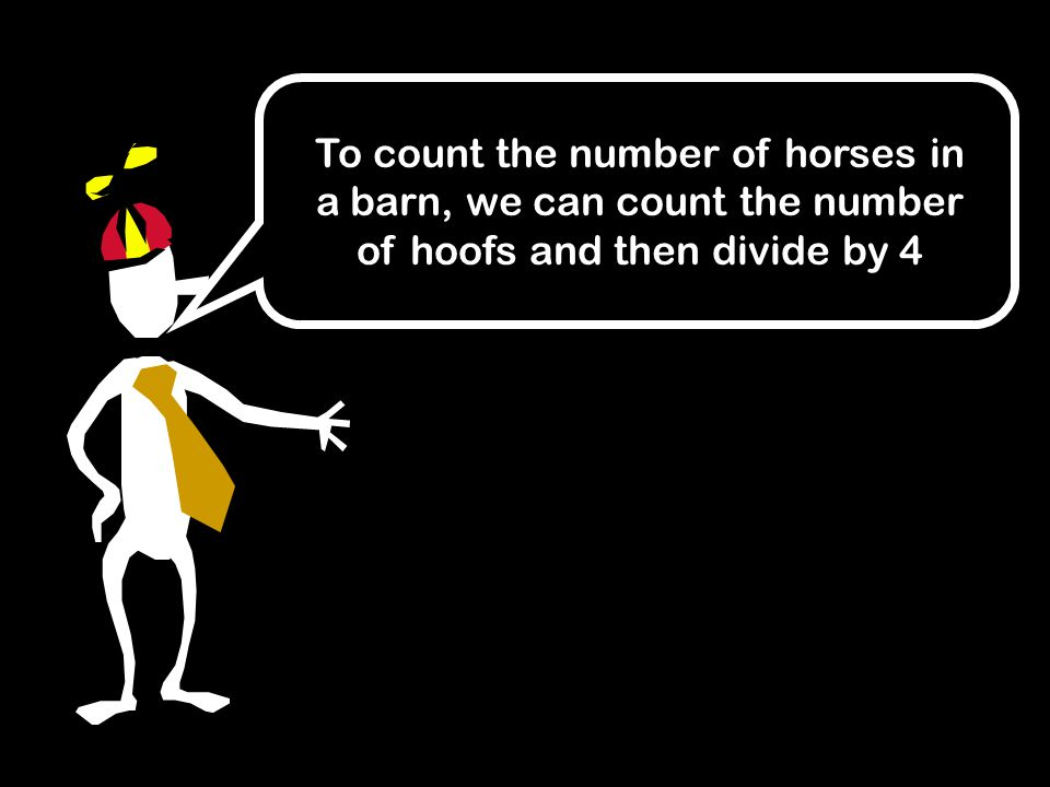 To count the number of horses in a barn, we can count the number of hoofs and then divide by 4
