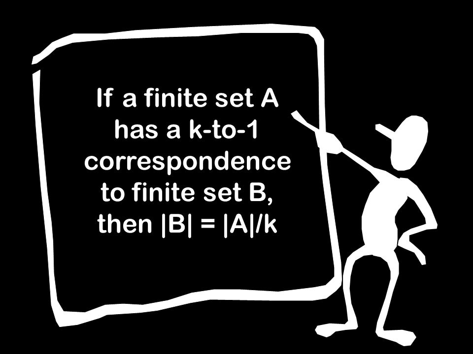 If a finite set A has a k-to-1 correspondence to finite set B, then |B| = |A|/k