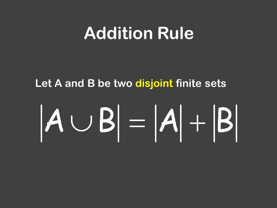 Addition Rule Let A and B be two disjoint finite sets
