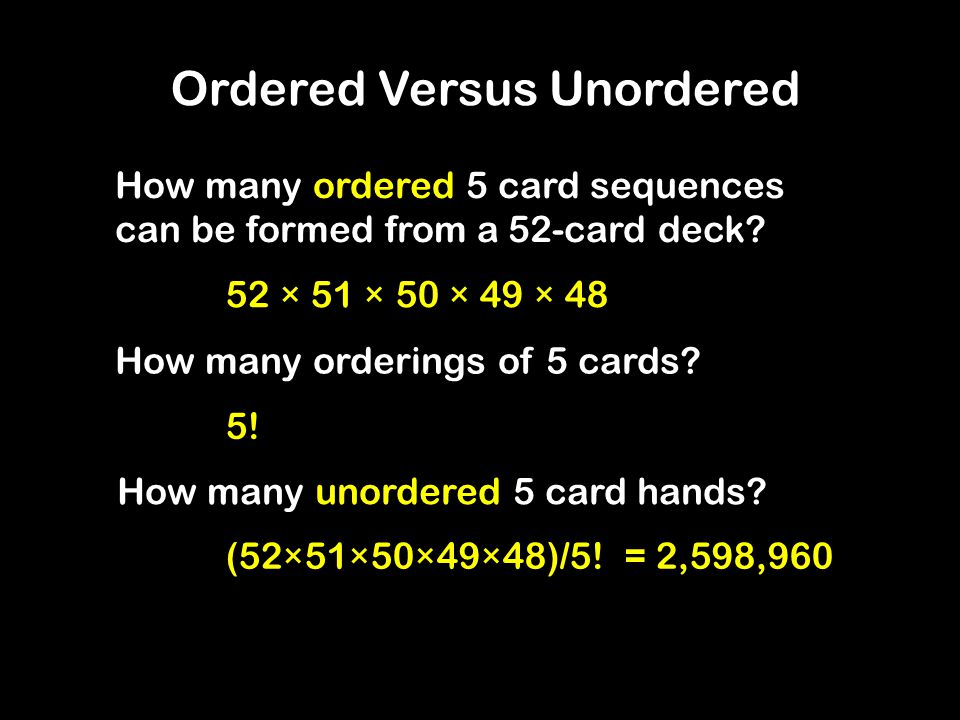 How many ordered 5 card sequences can be formed from a 52-card deck.