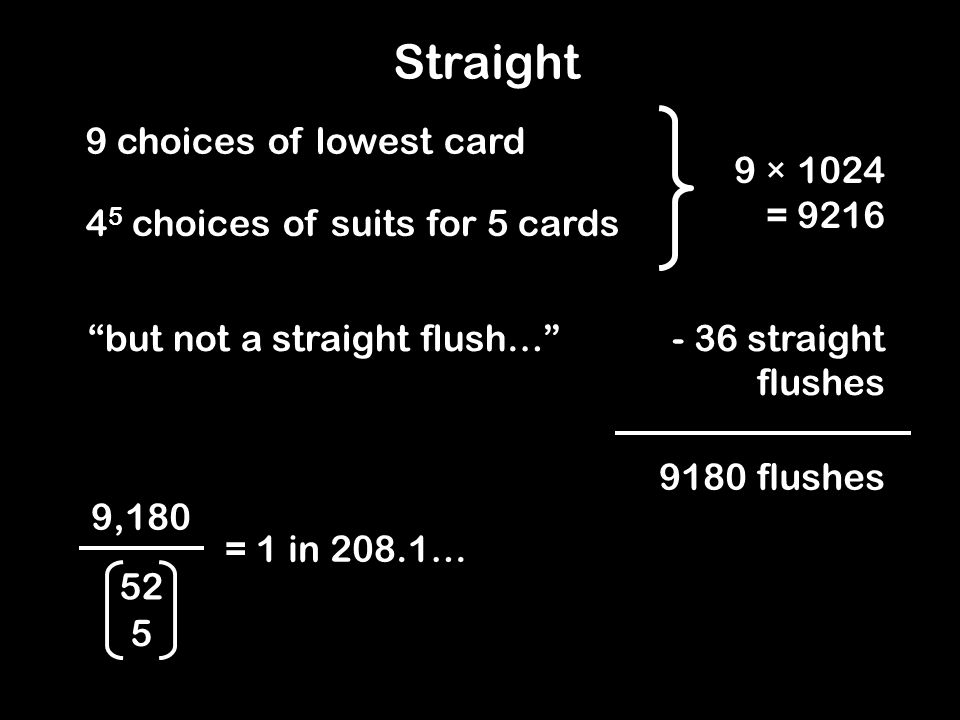 9 × 1024 = 9216 9 choices of lowest card 4 5 choices of suits for 5 cards but not a straight flush…- 36 straight flushes 9180 flushes 9,180 = 1 in 208.1… 52 5 Straight