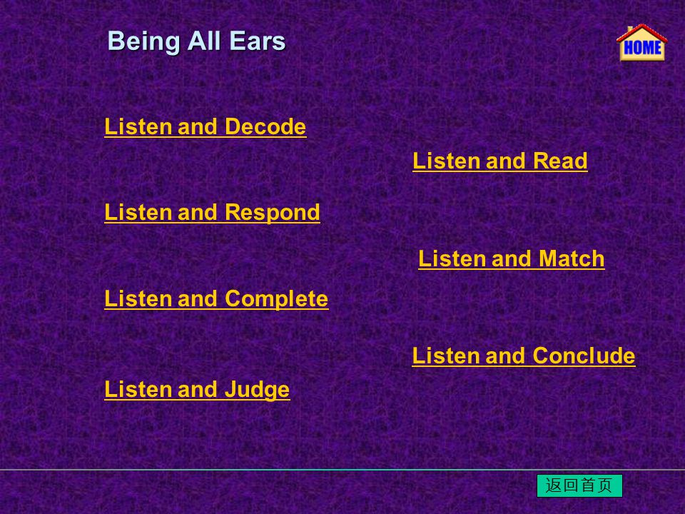 Listen and Decode Listen and Respond Listen and Read Listen and Match Listen and Conclude Listen and Complete Listen and Judge Being All Ears Being All Ears