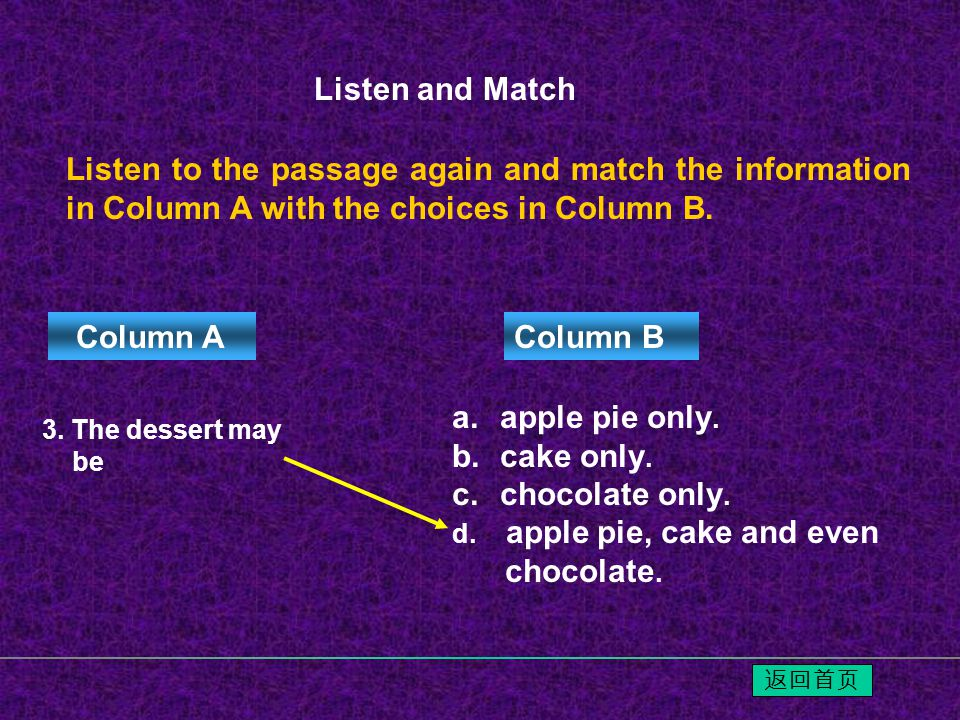 Listen to the passage again and match the information in Column A with the choices in Column B.