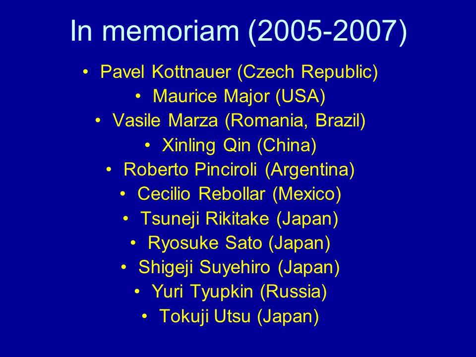 In memoriam (2005-2007) Pavel Kottnauer (Czech Republic) Maurice Major (USA) Vasile Marza (Romania, Brazil) Xinling Qin (China) Roberto Pinciroli (Argentina) Cecilio Rebollar (Mexico) Tsuneji Rikitake (Japan) Ryosuke Sato (Japan) Shigeji Suyehiro (Japan) Yuri Tyupkin (Russia) Tokuji Utsu (Japan)