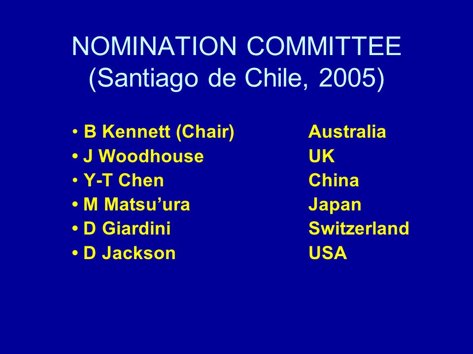 SLATE OF IASPEI OFFICERS (2007-2011) proposed by the Nominating Committee President: Wu, Zhongliang (China) Vice-President: Greg Houseman (UK) Vice-President: Ian Jackson (Australia) Secretary General and Treasurer: Peter Suhadolc (Italy) Executive Committee members: T Lay (USA), I Kukkonen (Finland), K Satake (Japan), M Assumpçao (Brazil) E R Engdahl - Past President (USA)