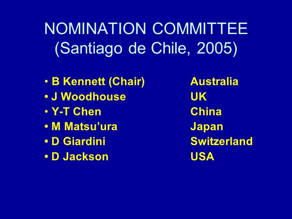 NOMINATION COMMITTEE (Santiago de Chile, 2005) B Kennett (Chair) Australia J Woodhouse UK Y-T ChenChina M MatsuuraJapan D GiardiniSwitzerland D JacksonUSA