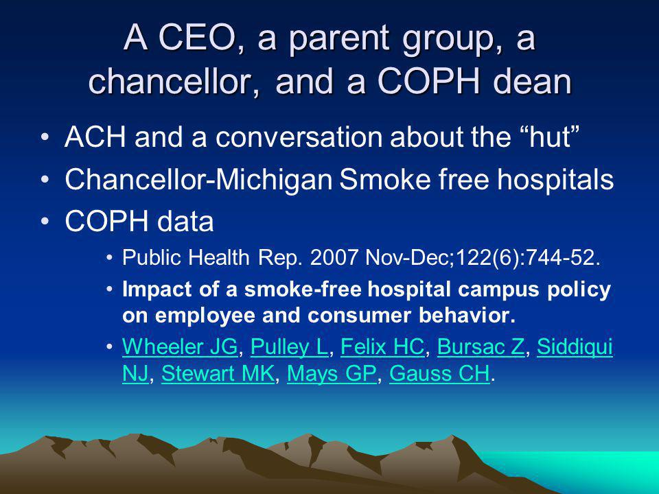 A CEO, a parent group, a chancellor, and a COPH dean ACH and a conversation about the hut Chancellor-Michigan Smoke free hospitals COPH data Public Health Rep.