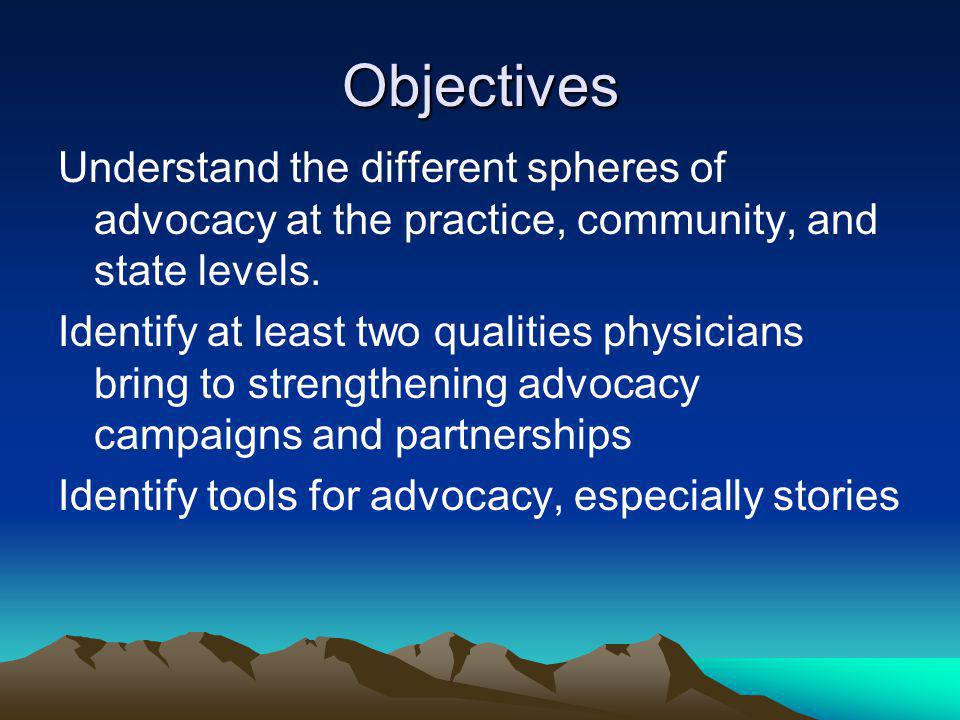 Objectives Understand the different spheres of advocacy at the practice, community, and state levels.
