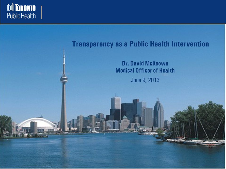 Transparency as a Public Health Intervention Dr.