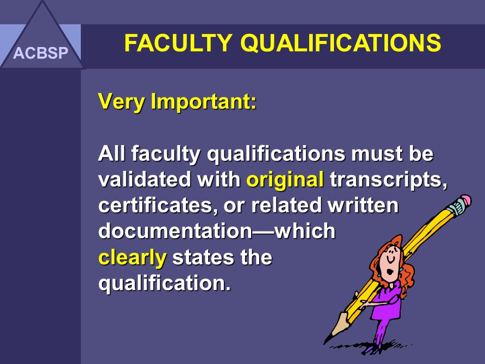 Standard: Professional, qualified faculty must teach all class sections taught within the business unit.