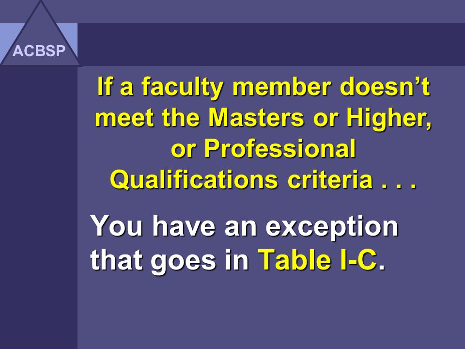 Faculty who do not meet the criteria for Masters Degree or Higher Qualifications or Professional Qualifications institution should provide explanation NOTE: All faculty qualifications must be validated with original transcripts, certificates, or related written documentationwhich clearly states the qualification.