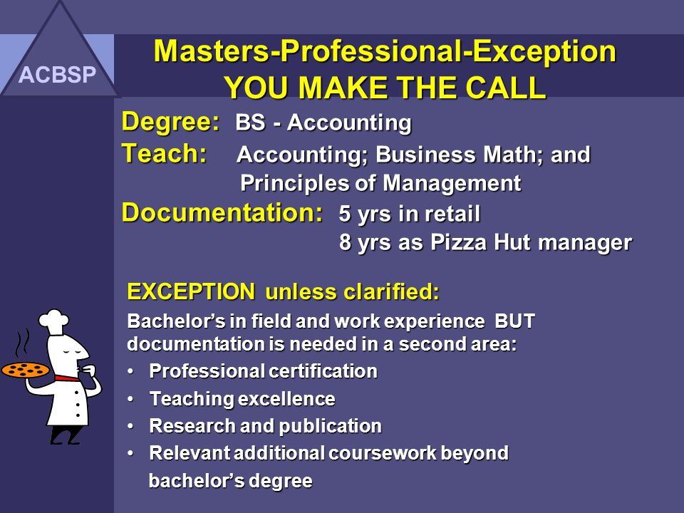 Masters-Professional-Exception YOU MAKE THE CALL ACBSP Degree: Ph.D.
