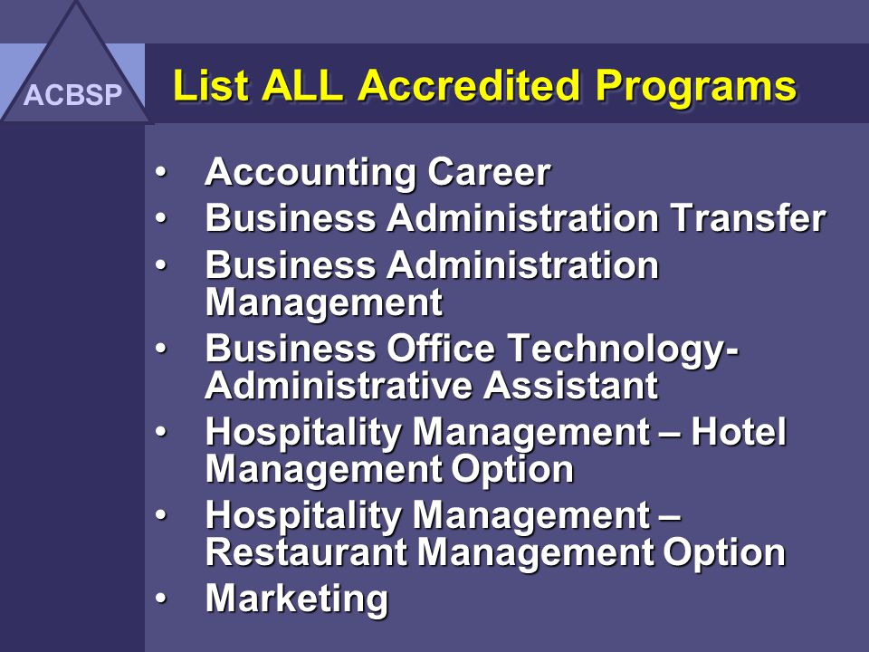 Quality Assurance Report ACBSP Associate Degree Commission Accredited Institutions (Rev. 2005)