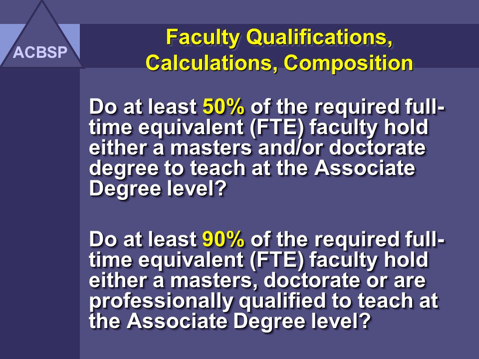 Items to be Addressed A.Faculty Qualifications, Calculations, Composition B.Curriculum C.Organization D.Conditions, Notes, Recommendations E.Performance Results ACBSP