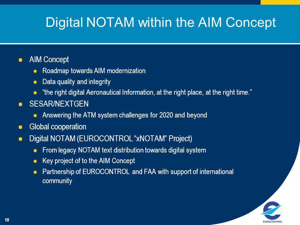 10 Digital NOTAM within the AIM Concept AIM Concept Roadmap towards AIM modernization Data quality and integrity the right digital Aeronautical Information, at the right place, at the right time.