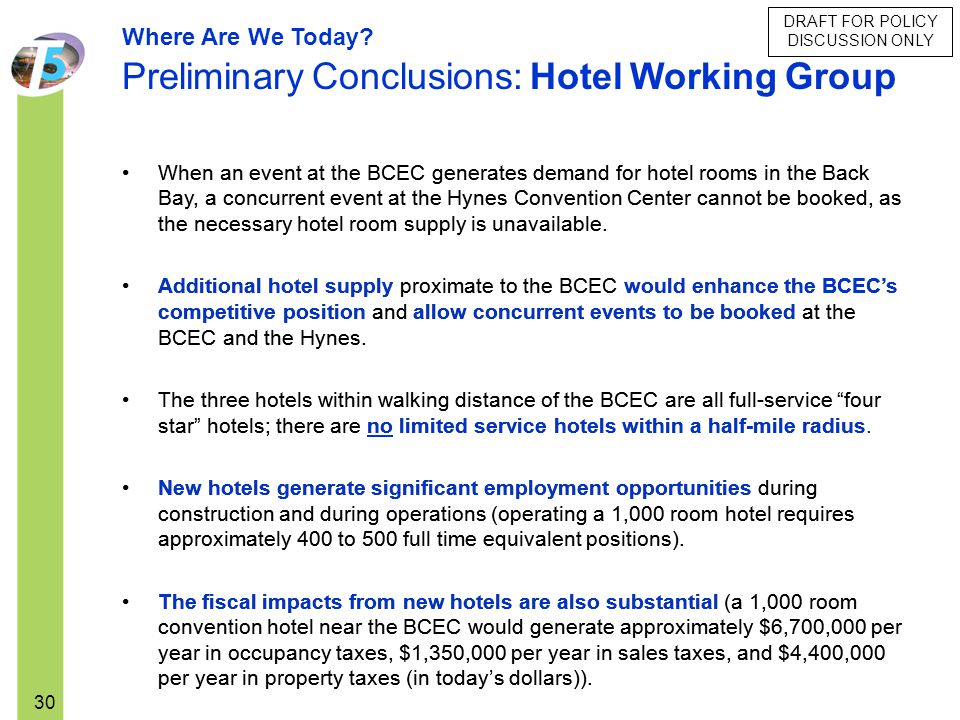 DRAFT FOR POLICY DISCUSSION ONLY 30 When an event at the BCEC generates demand for hotel rooms in the Back Bay, a concurrent event at the Hynes Conven