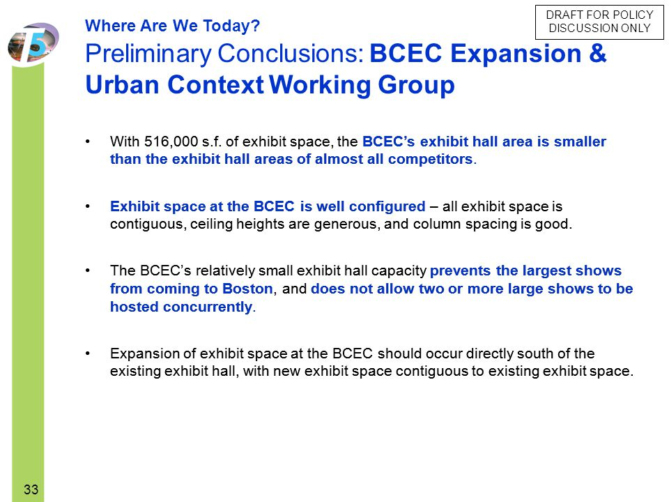 DRAFT FOR POLICY DISCUSSION ONLY 33 Where Are We Today? Preliminary Conclusions: BCEC Expansion & Urban Context Working Group With 516,000 s.f. of exh