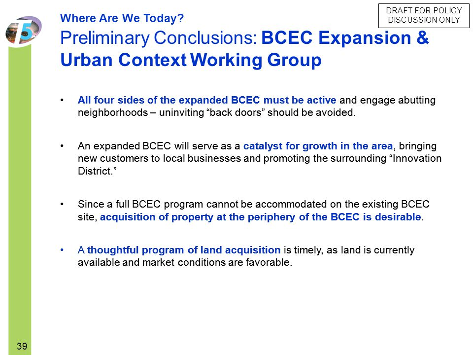 DRAFT FOR POLICY DISCUSSION ONLY 39 Where Are We Today? Preliminary Conclusions: BCEC Expansion & Urban Context Working Group All four sides of the ex