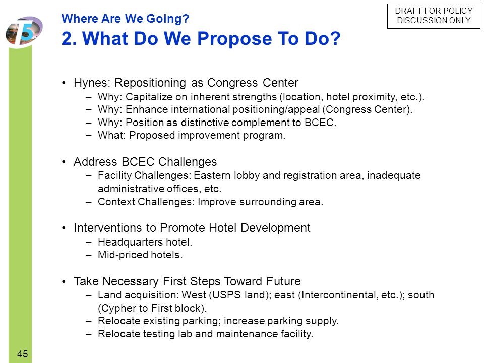 DRAFT FOR POLICY DISCUSSION ONLY 45 Hynes: Repositioning as Congress Center –Why: Capitalize on inherent strengths (location, hotel proximity, etc.).