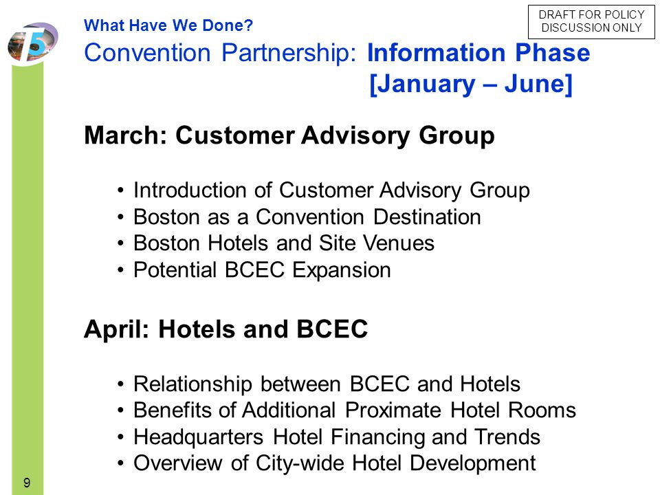 DRAFT FOR POLICY DISCUSSION ONLY 9 March: Customer Advisory Group Introduction of Customer Advisory Group Boston as a Convention Destination Boston Ho