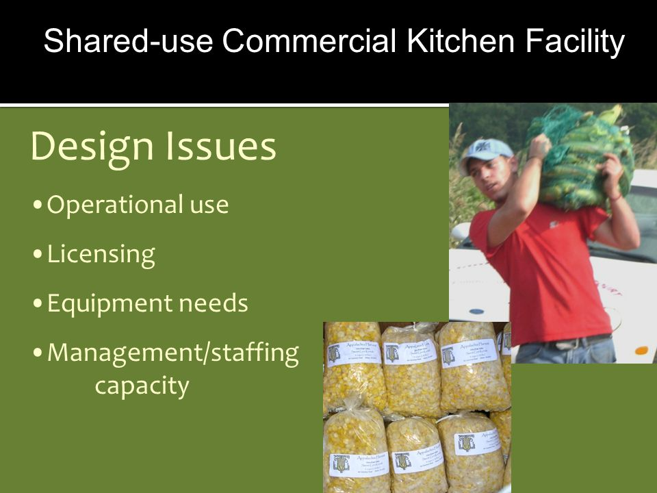 Design Issues Operational use Licensing Equipment needs Management/staffing capacity Shared-use Commercial Kitchen Facility