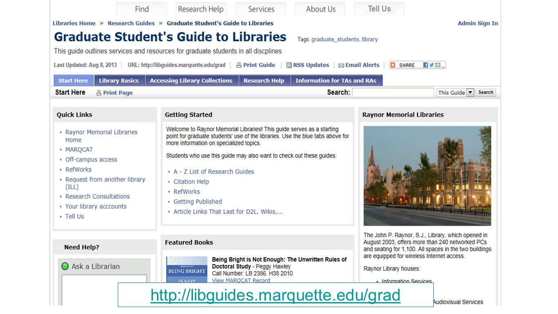 http://libguides.marquette.edu/grad