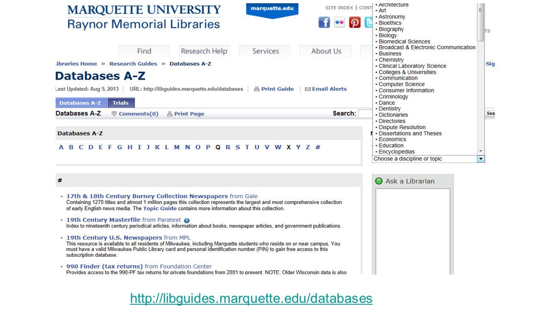 http://libguides.marquette.edu/databases